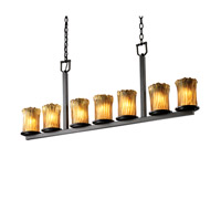 Justice Design Veneto Luce Dakota 7-Light Bar Chandelier in Dark Bronze GLA-8779-16-AMBR-DBRZ