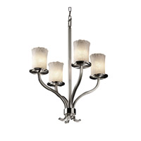 Veneto Luce 4 Light 22 inch Brushed Nickel Chandelier Ceiling Light in Whitewash (Veneto Luce), Cylinder with Rippled Rim