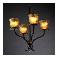 Justice Design Veneto Luce Sonoma 4-Light Chandelier in Dark Bronze GLA-8780-56-AMBR-DBRZ