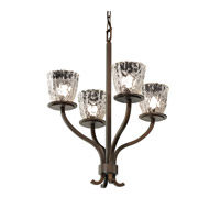 Justice Design Veneto Luce Sonoma 4-Light Chandelier in Dark Bronze GLA-8780-56-CLRT-DBRZ