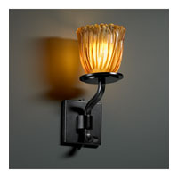Justice Design Veneto Luce Sonoma 1-Light Wall Sconce (Short) in Matte Black GLA-8781-56-AMBR-MBLK