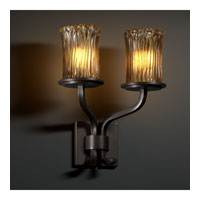 Justice Design Veneto Luce Sonoma 2-Light Wall Sconce (Short) in Dark Bronze GLA-8782-16-AMBR-DBRZ