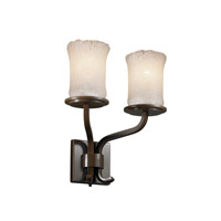 Justice Design Veneto Luce Sonoma 2-Light Wall Sconce (Short) in Dark Bronze GLA-8782-16-WHTW-DBRZ