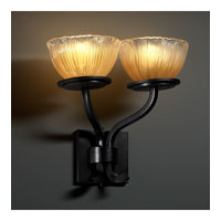 Justice Design GLA-8782-36-GLDC-MBLK Veneto Luce 2 Light 15 inch Matte Black Wall Sconce Wall Light in Gold with Clear Rim (Veneto Luce), Bowl with Rippled Rim photo thumbnail