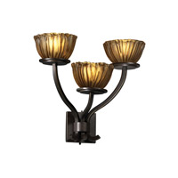 Justice Design GLA-8783-36-AMBR-DBRZ Veneto Luce 3 Light 21 inch Dark Bronze Wall Sconce Wall Light in Amber (Veneto Luce), Bowl with Rippled Rim photo thumbnail