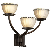 Justice Design GLA-8783-36-WTFR-DBRZ Veneto Luce 3 Light 21 inch Dark Bronze Wall Sconce Wall Light in White Frosted (Veneto Luce), Bowl with Rippled Rim photo thumbnail