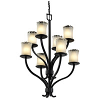 Justice Design Veneto Luce Sonoma 8-Light 2-Tier Chandelier in Matte Black GLA-8788-16-WTFR-MBLK