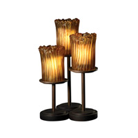 Justice Design Veneto Luce Dakota 3-Light Table Lamp in Dark Bronze GLA-8797-16-AMBR-DBRZ