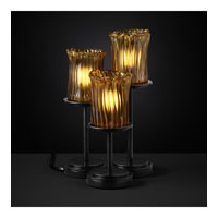 Justice Design Veneto Luce Dakota 3-Light Table Lamp in Matte Black GLA-8797-16-AMBR-MBLK