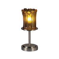 Justice Design GLA-8798-16-AMBR-NCKL Veneto Luce 12 inch 60 watt Brushed Nickel Table Lamp Portable Light in Amber (Veneto Luce)
