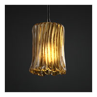 Justice Design Veneto Luce Pendants Mini 1-Light Pendant in Dark Bronze GLA-8815-16-AMBR-DBRZ