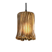 Veneto Luce 1 Light 4 inch Dark Bronze Pendant Ceiling Light in Amber (Veneto Luce), Cylinder with Rippled Rim