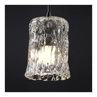 Justice Design Veneto Luce Pendants Mini 1-Light Pendant in Dark Bronze GLA-8815-16-CLRT-DBRZ