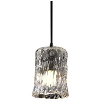 Justice Design GLA-8815-16-CLRT-NCKL Veneto Luce 1 Light 5 inch Brushed Nickel Pendant Ceiling Light in Clear Textured (Veneto Luce), Cylinder with Rippled Rim photo thumbnail
