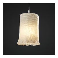 Justice Design Veneto Luce Pendants Mini 1-Light Pendant in Brushed Nickel GLA-8815-16-WHTW-NCKL