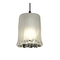 Justice Design GLA-8815-16-WTFR-DBRZ Veneto Luce 1 Light 4 inch Dark Bronze Pendant Ceiling Light in White Frosted (Veneto Luce), Cylinder with Rippled Rim photo thumbnail