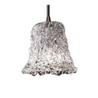Justice Design Veneto Luce Mini 1-Light Pendant in Dark Bronze GLA-8815-20-LACE-DBRZ