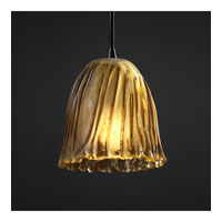 Justice Design Veneto Luce Pendants Mini 1-Light Pendant in Dark Bronze GLA-8815-56-AMBR-DBRZ