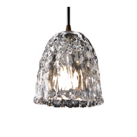 Justice Design Veneto Luce Pendants Mini 1-Light Pendant in Dark Bronze GLA-8815-56-CLRT-DBRZ