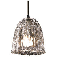 Justice Design Veneto Luce Pendants Mini 1-Light Pendant in Matte Black GLA-8815-56-CLRT-MBLK