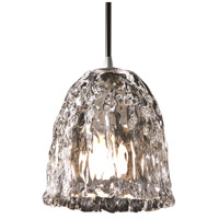 Justice Design Veneto Luce Pendants Mini 1-Light Pendant in Brushed Nickel GLA-8815-56-CLRT-NCKL