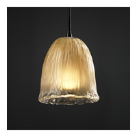 Justice Design Veneto Luce Pendants Mini 1-Light Pendant in Dark Bronze GLA-8815-56-GLDC-DBRZ