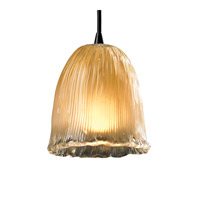 Veneto Luce 1 Light 4 inch Dark Bronze Pendant Ceiling Light in Cord, Gold with Clear Rim (Veneto Luce), Tulip with Rippled Rim