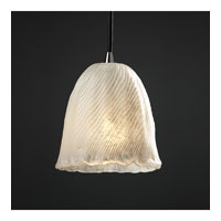 Justice Design Veneto Luce Pendants Mini 1-Light Pendant in Brushed Nickel GLA-8815-56-WHTW-NCKL