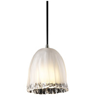 Justice Design Veneto Luce Pendants Mini 1-Light Pendant in Brushed Nickel GLA-8815-56-WTFR-NCKL