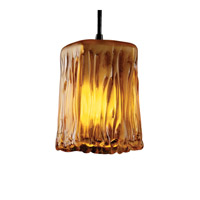 Justice Design Veneto Luce Pendants Small 1-Light Pendant in Dark Bronze GLA-8816-26-AMBR-DBRZ