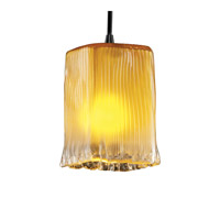 Justice Design Veneto Luce Pendants Small 1-Light Pendant in Matte Black GLA-8816-26-GLDC-MBLK