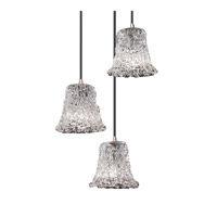 Justice Design GLA-8818-20-LACE-NCKL-BKCD Veneto Luce 3 Light 4 inch Brushed Nickel Pendant Ceiling Light in Lace (Veneto Luce), Round Flared photo thumbnail