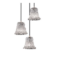Justice Design Veneto Luce Mini 3-Light Cluster Pendant in Brushed Nickel GLA-8818-20-LACE-NCKL