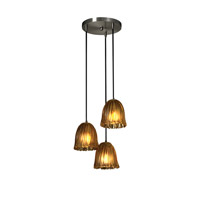 Veneto Luce 3 Light Brushed Nickel Pendant Ceiling Light in Amber (Veneto Luce), Tulip with Rippled Rim