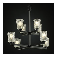 Justice Design Veneto Luce Modular 8-Light 2-Tier Chandelier in Matte Black GLA-8828-16-CLRT-MBLK