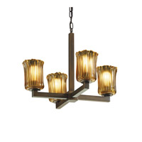 Justice Design Veneto Luce Modular 4-Light Chandelier in Dark Bronze GLA-8829-16-AMBR-DBRZ