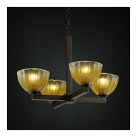 Veneto Luce 4 Light 23 inch Dark Bronze Chandelier Ceiling Light in Gold with Clear Rim (Veneto Luce), Bowl with Rippled Rim