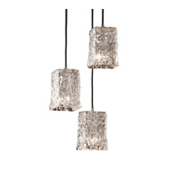 Justice Design Veneto Luce Pendants Small 3-Light Cluster Pendant in Brushed Nickel GLA-8864-26-CLRT-NCKL