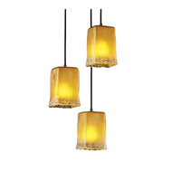 Justice Design Veneto Luce Pendants Small 3-Light Cluster Pendant in Dark Bronze GLA-8864-26-GLDC-DBRZ