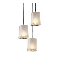 Justice Design Veneto Luce Pendants Small 3-Light Cluster Pendant in Brushed Nickel GLA-8864-26-WTFR-NCKL
