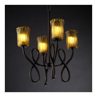 Justice Design Veneto Luce Capellini 4-Light Chandelier in Dark Bronze GLA-8910-16-AMBR-DBRZ
