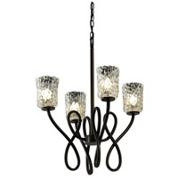 Justice Design Veneto Luce Capellini 4-Light Chandelier in Dark Bronze GLA-8910-16-CLRT-DBRZ