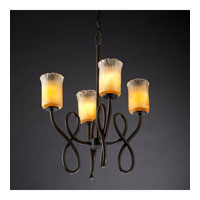 Justice Design Veneto Luce Capellini 4-Light Chandelier in Dark Bronze GLA-8910-16-GLDC-DBRZ