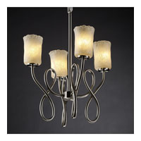 Justice Design Veneto Luce Capellini 4-Light Chandelier in Brushed Nickel GLA-8910-16-WHTW-NCKL
