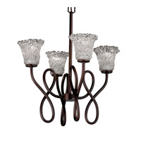 Justice Design Veneto Luce Capellini 4-Light Chandelier in Dark Bronze GLA-8910-20-LACE-DBRZ