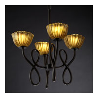 Justice Design Veneto Luce Capellini 4-Light Chandelier in Dark Bronze GLA-8910-36-AMBR-DBRZ