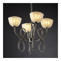 Justice Design Veneto Luce Capellini 4-Light Chandelier in Brushed Nickel GLA-8910-36-WHTW-NCKL
