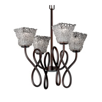 Justice Design Veneto Luce Capellini 4-Light Chandelier in Dark Bronze GLA-8910-40-LACE-DBRZ