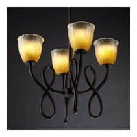 Justice Design Veneto Luce Capellini 4-Light Chandelier in Dark Bronze GLA-8910-56-GLDC-DBRZ