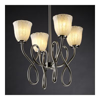 Justice Design Veneto Luce Capellini 4-Light Chandelier in Brushed Nickel GLA-8910-56-WHTW-NCKL